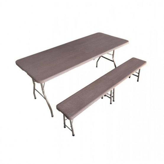 Бирен сет със сгъваема маса и пейки дизайн Ратан тъмнокафяв