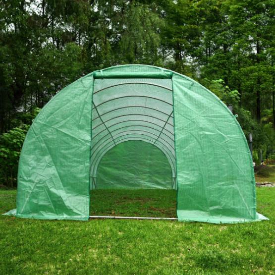 """Оранжерия 1000x300x200cm с 2 врати и 16 """"прозореца"""", зелен цвят , UV защита"""