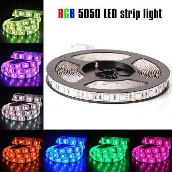 Комплект RGB LED лента 5 метра, диод 5050, с дистанционно и захранване