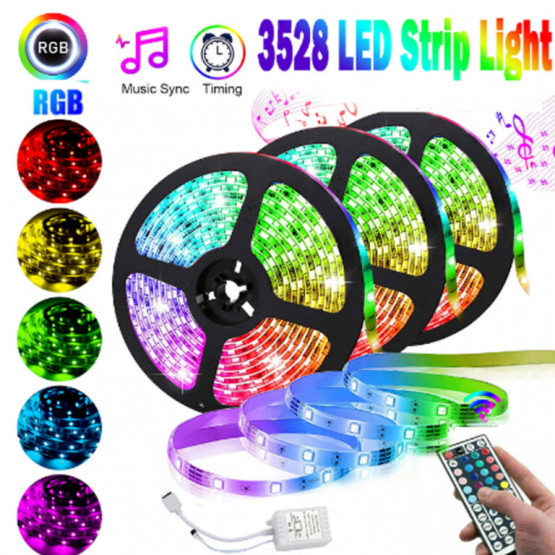 Комплект RGB LED лента 5 метра, диод 3528, с дистанционно и захранване