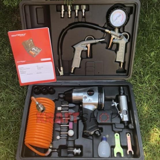 К-т Пневматични инструменти 27 части KraftWorld Germany – Гайковерт , маркуч , манометър , пистолет за гуми