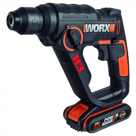 Акумулаторен перфоратор Worx WX390.1 2броя Li-ion 20V/2Ah 1.2J