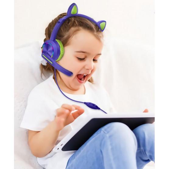 Детски слушалки с котешки ушички с кабел